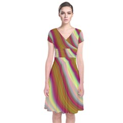 Artificial Colorful Lava Background Short Sleeve Front Wrap Dress
