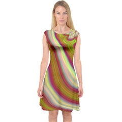 Artificial Colorful Lava Background Capsleeve Midi Dress