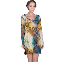 Abstract Color Splash Background Colorful Wallpaper Long Sleeve Nightdress
