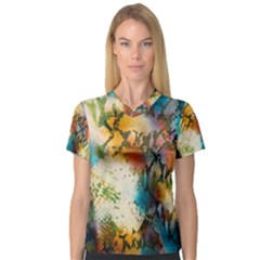 Abstract Color Splash Background Colorful Wallpaper Women s V Neck Sport Mesh Tee