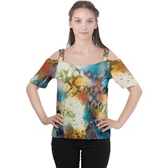 Abstract Color Splash Background Colorful Wallpaper Women s Cutout Shoulder Tee