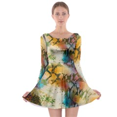 Abstract Color Splash Background Colorful Wallpaper Long Sleeve Skater Dress
