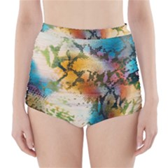 Abstract Color Splash Background Colorful Wallpaper High Waisted Bikini Bottoms