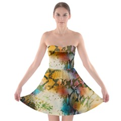 Abstract Color Splash Background Colorful Wallpaper Strapless Bra Top Dress