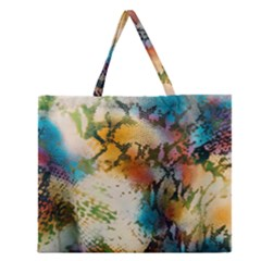Abstract Color Splash Background Colorful Wallpaper Zipper Large Tote Bag