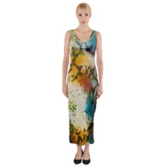 Abstract Color Splash Background Colorful Wallpaper Fitted Maxi Dress