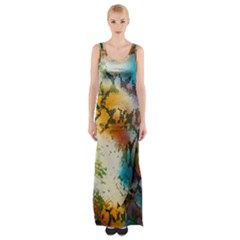 Abstract Color Splash Background Colorful Wallpaper Maxi Thigh Split Dress
