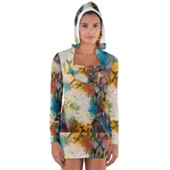 Abstract Color Splash Background Colorful Wallpaper Women s Long Sleeve Hooded T Shirt