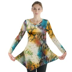 Abstract Color Splash Background Colorful Wallpaper Long Sleeve Tunic