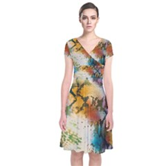 Abstract Color Splash Background Colorful Wallpaper Short Sleeve Front Wrap Dress
