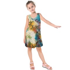 Abstract Color Splash Background Colorful Wallpaper Kids  Sleeveless Dress