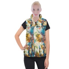 Abstract Color Splash Background Colorful Wallpaper Women s Button Up Puffer Vest