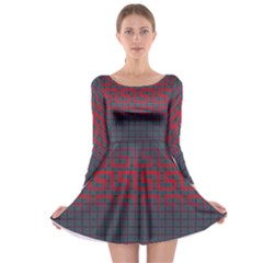 Abstract Tiling Pattern Background Long Sleeve Skater Dress