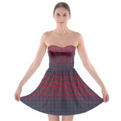 Abstract Tiling Pattern Background Strapless Bra Top Dress