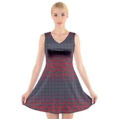 Abstract Tiling Pattern Background V Neck Sleeveless Skater Dress
