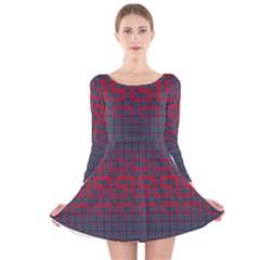 Abstract Tiling Pattern Background Long Sleeve Velvet Skater Dress