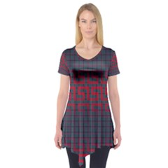 Abstract Tiling Pattern Background Short Sleeve Tunic