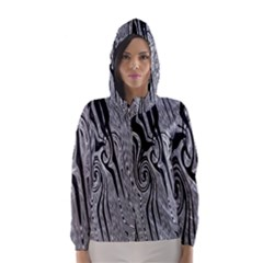 Abstract Swirling Pattern Background Wallpaper Hooded Wind Breaker (women)
