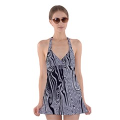 Abstract Swirling Pattern Background Wallpaper Halter Swimsuit Dress