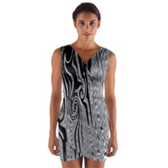 Abstract Swirling Pattern Background Wallpaper Wrap Front Bodycon Dress