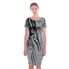 Abstract Swirling Pattern Background Wallpaper Classic Short Sleeve Midi Dress