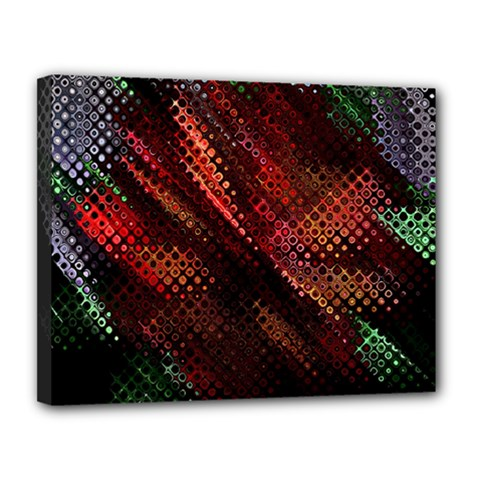 Abstract Green And Red Background Canvas 14  X 11
