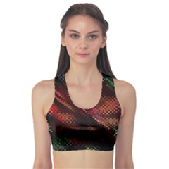Abstract Green And Red Background Sports Bra
