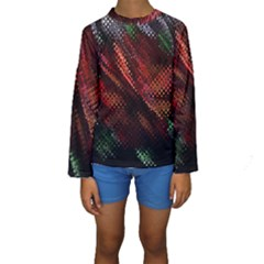 Abstract Green And Red Background Kids  Long Sleeve Swimwear