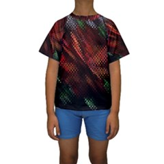 Abstract Green And Red Background Kids  Short Sleeve Swimwear