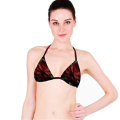 Abstract Green And Red Background Bikini Top