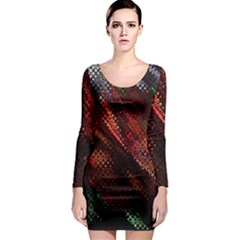 Abstract Green And Red Background Long Sleeve Bodycon Dress
