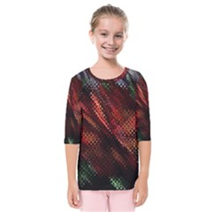 Abstract Green And Red Background Kids  Quarter Sleeve Raglan Tee