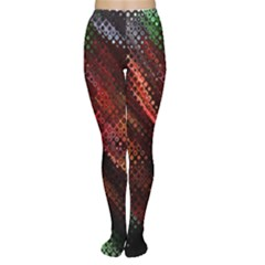 Abstract Green And Red Background Women s Tights