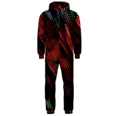 Abstract Green And Red Background Hooded Jumpsuit (Men)