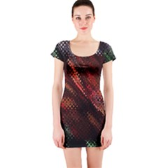 Abstract Green And Red Background Short Sleeve Bodycon Dress