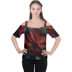 Abstract Green And Red Background Women s Cutout Shoulder Tee