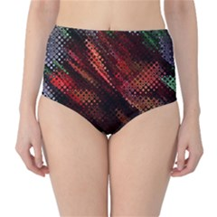 Abstract Green And Red Background High Waist Bikini Bottoms