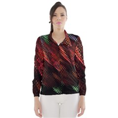 Abstract Green And Red Background Wind Breaker (women)