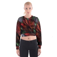 Abstract Green And Red Background Women s Cropped Sweatshirt