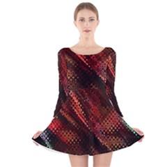 Abstract Green And Red Background Long Sleeve Velvet Skater Dress
