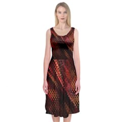 Abstract Green And Red Background Midi Sleeveless Dress