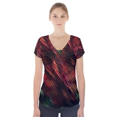 Abstract Green And Red Background Short Sleeve Front Detail Top