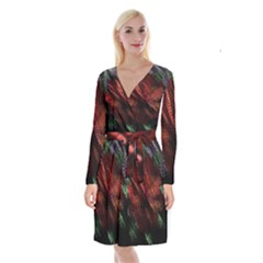 Abstract Green And Red Background Long Sleeve Velvet Front Wrap Dress