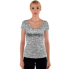 Abstract Knots Background Design Pattern Women s V-Neck Cap Sleeve Top