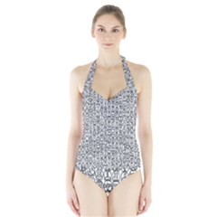 Abstract Knots Background Design Pattern Halter Swimsuit