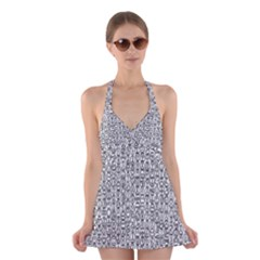 Abstract Knots Background Design Pattern Halter Swimsuit Dress