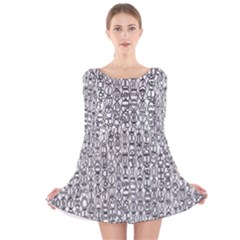 Abstract Knots Background Design Pattern Long Sleeve Velvet Skater Dress