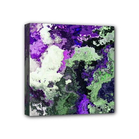 Background Abstract With Green And Purple Hues Mini Canvas 4  X 4