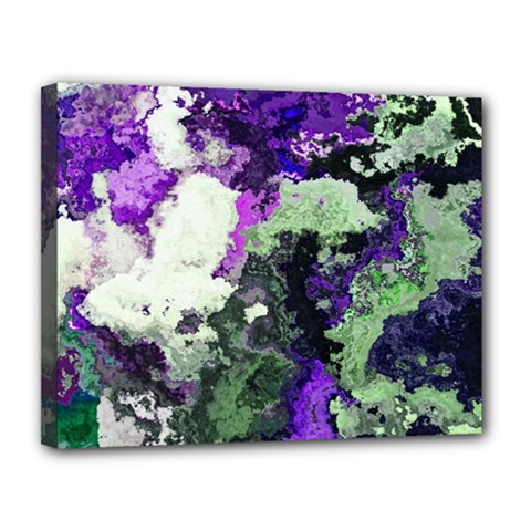 Background Abstract With Green And Purple Hues Canvas 14  x 11