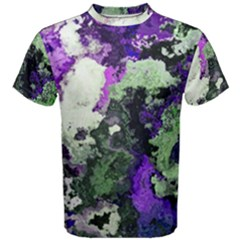 Background Abstract With Green And Purple Hues Men s Cotton Tee